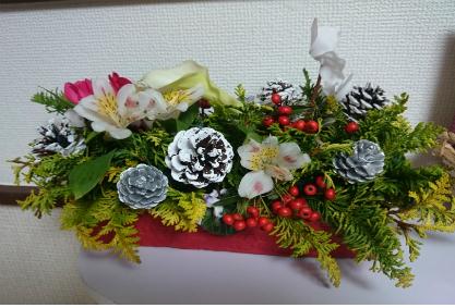 横浜浅間町 子連れ貸切り美容室 フラワーアレンジメント クリスマス
